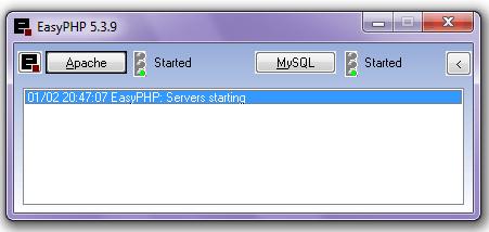 تصویری از محیط اصلی برنامه EasyPHP
